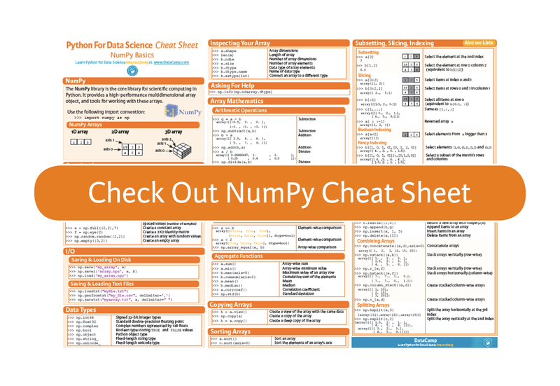 NumPy Cheat Sheet: Data Analysis in Python (article) - DataCamp