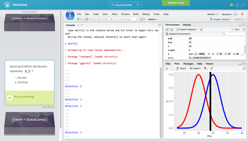 DataCamp and Swirl Statistical Inference Course